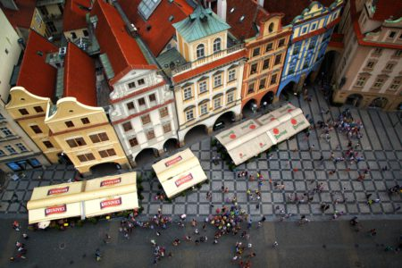 Photograph of Old town square from the Old City Hall in Prague.