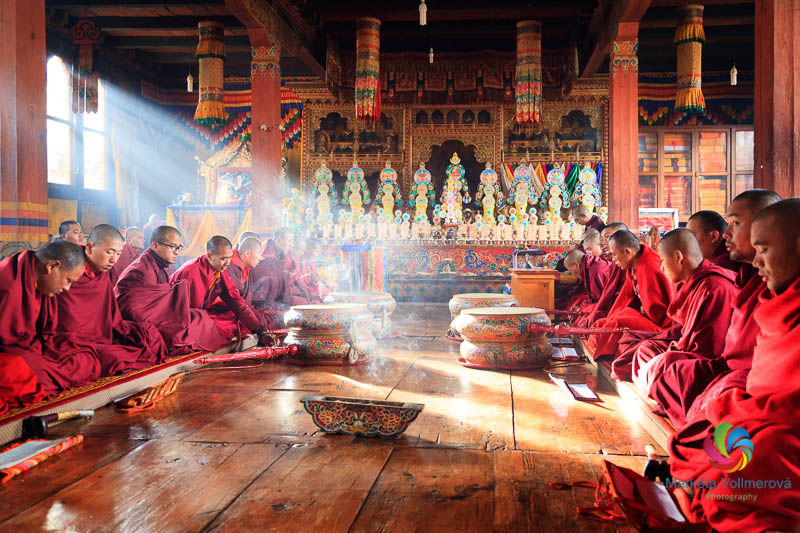 Monks praying in the temple